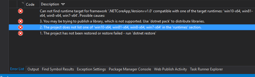 Screenshot of Error List in Visual Studio